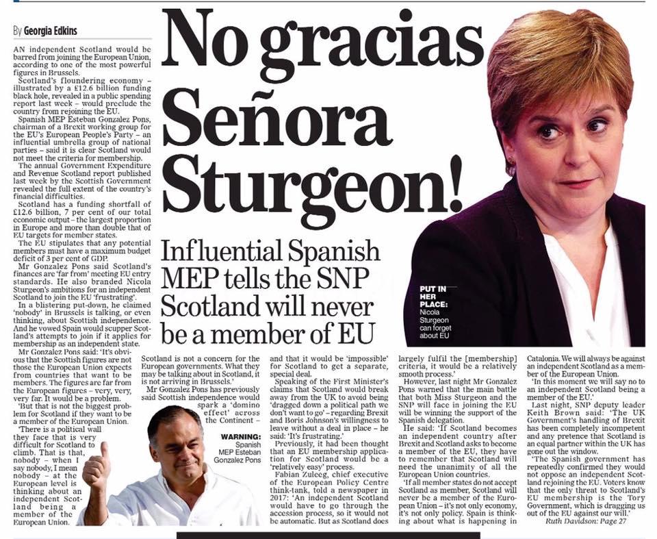 No gracias Señora Sturgeon!