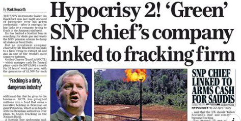 Hypocrisy 2! 'Green' SNP chief's company linked to fracking firm
